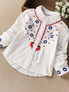 酷咿熊童装白色刺绣衬衫