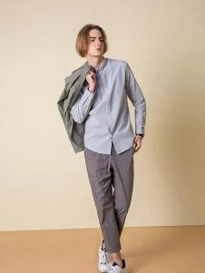一泽男装灰色时尚衬衫