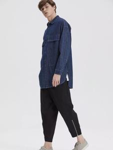 一泽男装深蓝牛仔衬衫