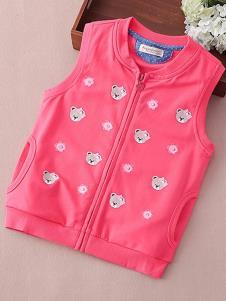酷咿熊童装梅红小熊马甲外套