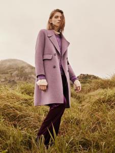 2018季候风女装紫色大衣