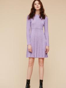 季候风新款紫色连衣裙