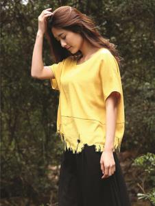 天开悟语女装黄色时尚T恤