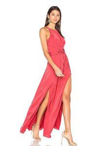 COCOLISA女装红色开叉挂脖连衣裙