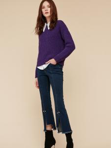 季候风紫色毛衣