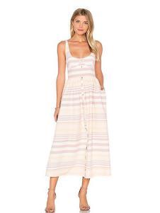 COCOLISA女装粉色条纹吊带连衣裙