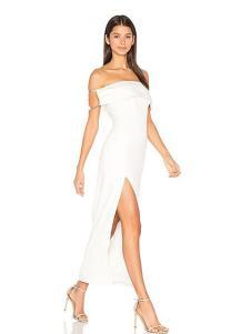 COCOLISA女装白色抹胸开叉连衣裙