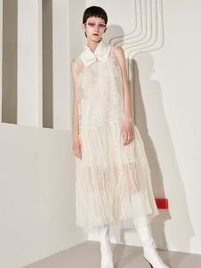 SIASTELLA女装白色网纱连衣裙