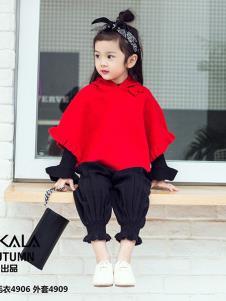 叮卡啦童装红色蝙蝠衫外套