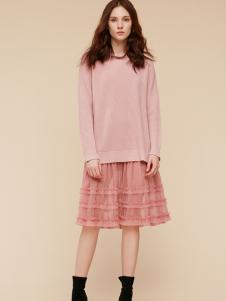 2018季候风秋冬新款粉色套装裙