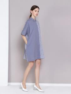 曈日女装蓝色拼接连衣裙