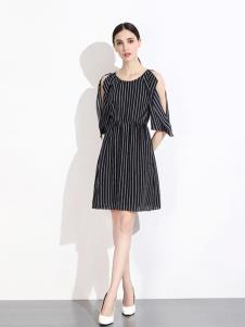 曈日女装黑色条纹露肩连衣裙