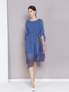 曈日女装蓝色雪纺连衣裙