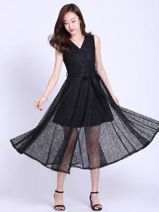 樱の花女装黑色蕾丝连衣裙