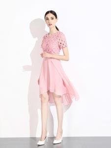 曈日女装粉色不规则连衣裙