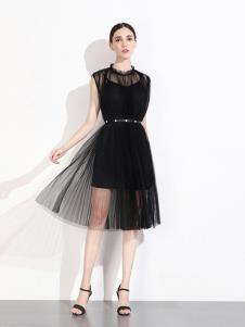 曈日女装黑色网纱连衣裙
