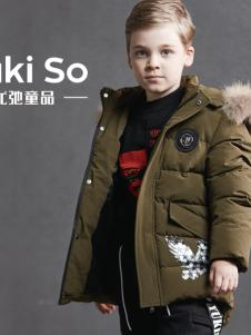 2018YukiSo男童军绿色羽绒服