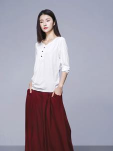 依尚慕语女装白色修身T恤