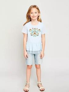 惠衣登童装浅蓝印花T恤