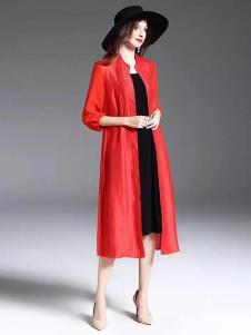 布衣由黛女装红色时尚外套