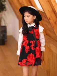 童年朋友圈童装红色休闲女裙
