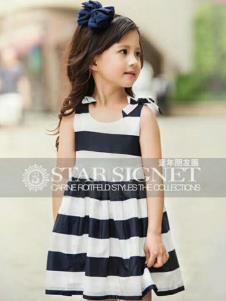 童年朋友圈童装蓝白条纹女裙