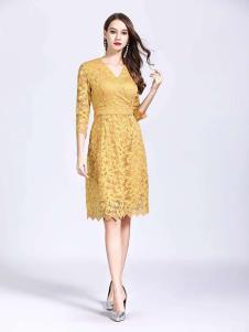 诺羽西女装苋蕾丝V领连衣裙