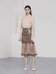 诺羽西女装深卡其网纱时尚半身裙