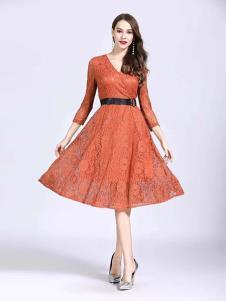 诺羽西女装橘红色修身蕾丝七分袖连衣裙