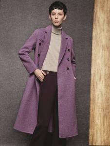 HONO亨奴秋冬新款紫色大衣