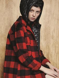 亨奴女装HONO亨奴秋冬新款红黑格子大衣
