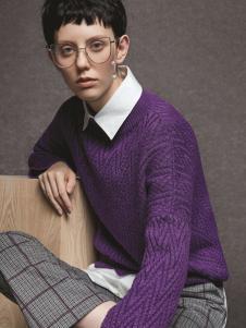 亨奴女装HONO亨奴秋冬新款紫色打底衫