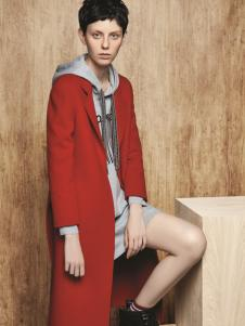 亨奴女装HONO亨奴秋冬新款红色大衣