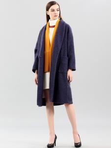 彌妖女裝深紫色中長款大衣