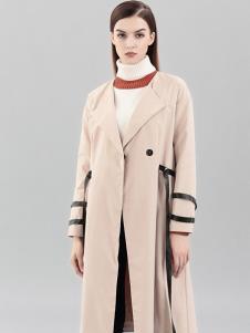 彌妖女裝杏色時尚長款大衣