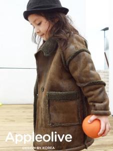 Apple Orange女童秋冬皮毛一体外套