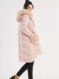 时风女装粉色休闲羽绒服