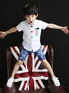 哈哈兽童装白色时尚衬衫