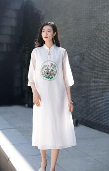 忆花寻女装白色复古旗袍