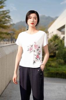 忆花寻女装白色印花T恤
