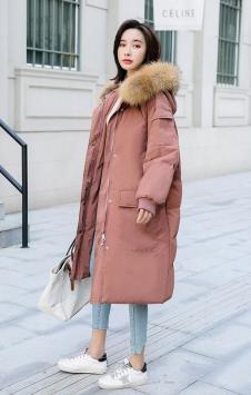 蓓伊诗女装粉色长款棉衣