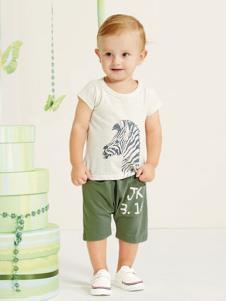 婴奈儿童装白色斑马T恤