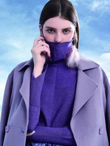 VADAINI女装紫色高领针织衫