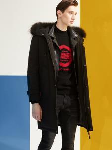 1943S男装黑色中长款休闲棉衣