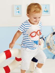 婴奈儿童装蓝白条纹T恤