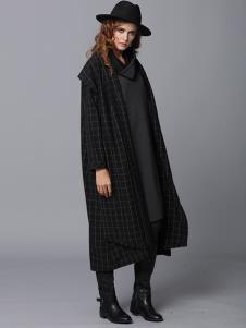 玛丁格拉丽斯女装黑色格子大衣