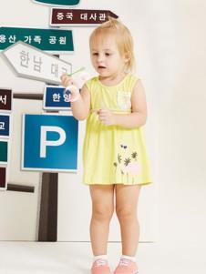 婴奈儿童装黄色印花女裙