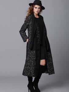 玛丁格拉丽斯女装黑色雪花时尚大衣