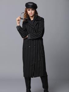 玛丁格拉丽斯女装黑色条纹大衣