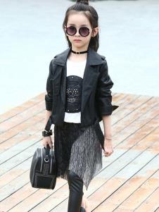 温琪可可童装黑色时尚外套